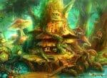 Хижина среди грибов и трав