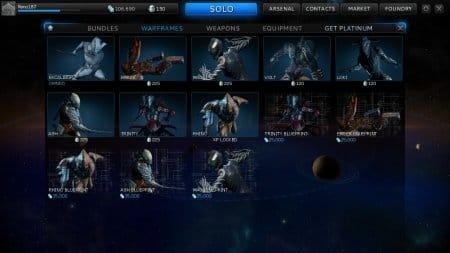 На этой картинке вы можете увидеть несколько экокостюмов из игры Warframe