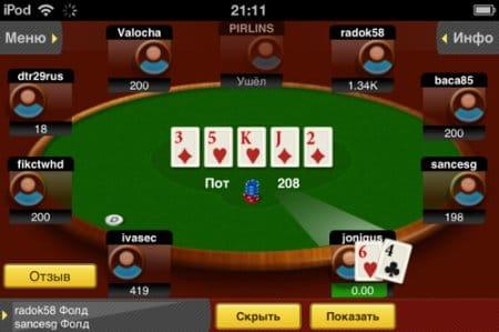 Отображение карт для игрока.