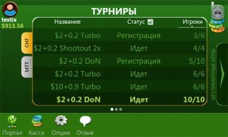 Игровые турниры и участвующие игроки.