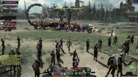 Герой и его войско сражается с гигантскими скорпионами